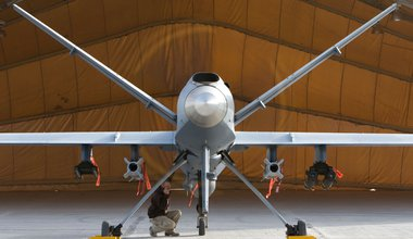 A maintenance Airman inspects an MQ-9 Reaper in Afghanistan Oct. 1