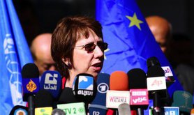 EU Foreign Policy Chief Catherine Ashton at UNRWA HQ in Gaza. Demotix/Sameh Rahmi. All rights reserved.