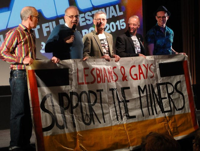 LGSM members after a showing of Pride directed by Matthew Warchus, 2014.