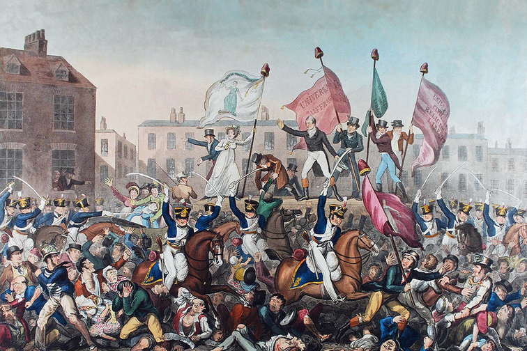 A coloured engraving that depicts the Peterloo Massacre (military suppression of a demonstration in Manchester, England by cavalry charge on August 16, 1819 with loss of life) in Manchester, England.