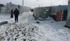 Al-Marj refugee camp, Beqaa, Lebanon 9/1/2015. At least 3 refugees have been killed by the storm so far. Photo by Syrian Eyes.