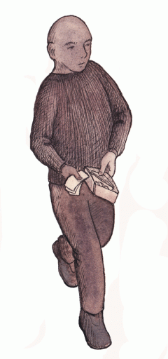 Illustration of a man holding a wallet with notes.
