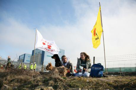 Demo at Hinkley Point on first anniversary of Fukushima disaster.
