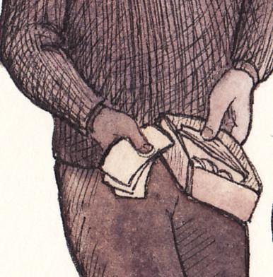Illustration of a person holding open a wallet with notes.