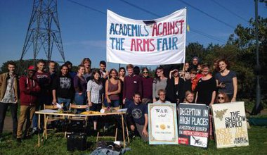 Academics against the arms fair.