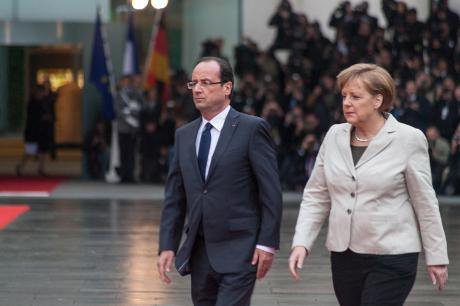 François Hollande and Angela Merkel