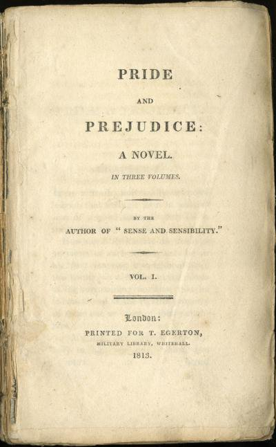 Title page from the first edition of the first volume of Pride and Prejudice, 1813.