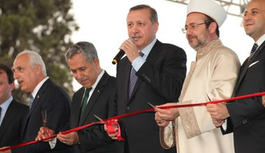 Turkish PM Recep Erdogan gives a speech in Istanbul