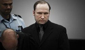Anders Behring Breivik in court during the ninth week of his trial.