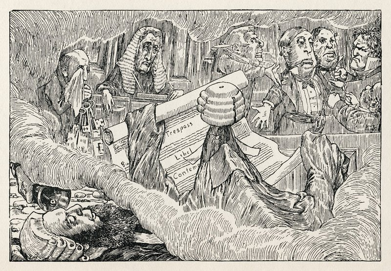 "The Barrister's Dream from Henry Holiday's original illustrations to ""The Hunting of the Snark"" by Lewis Carroll. (1876"