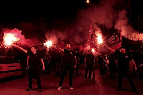 Golden Dawn supporters rally in Thessaloniki. Demotix/Alexandros Michailidis. All rights reserved.