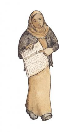 Illustration of a woman holding a calendar.
