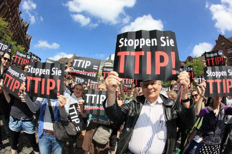 Protestors at an anti-TTIP demonstration in Hamburg, May 2014.