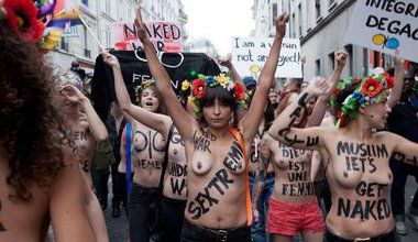 FEMEN activists celebrate their new headquarters in Paris