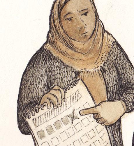 Illustration of a woman holding a calendar and pointing at a date.