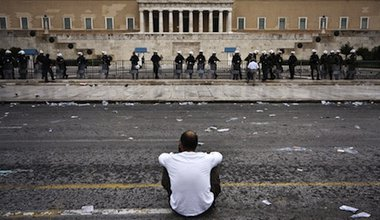 """Where do we go from here?"" - after a protest in Athens, Greece. Demotix/Socrates Baltagiannis. All rights reserved."