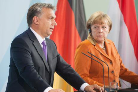 Hungarian President Victor Orbán and German Chancellor Angela Merkel