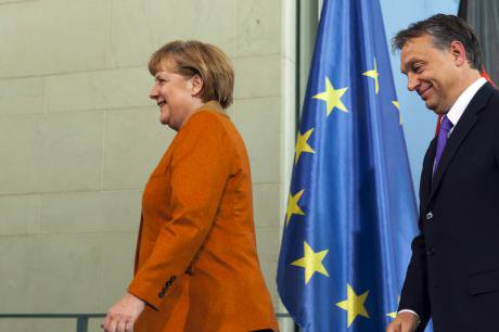 Chancellor Angela Merkel and PM Orbán in economic press conference.