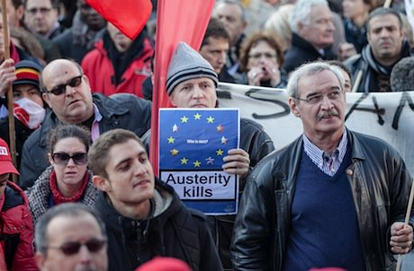 During an anti-austerity demonstration in Brussels on 14 November. Demotix/Olivier Vin. All rights reserved.