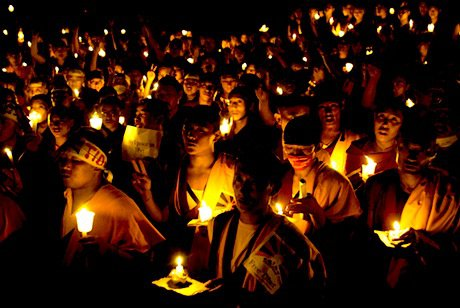 Tibetans in exile in Kathmandu pray for free Tibet. Demotix/Matthieu Alexandre. All rights reserved.
