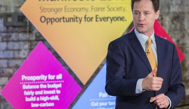 Then Liberal Democrat leader Nick Clegg at the party's manifesto launch for the 2015 general election.