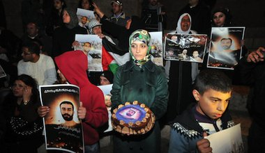 Palestinians protest for the release of Samer Issawi. Demotix/Mahmoud Illean. All rights reserved.