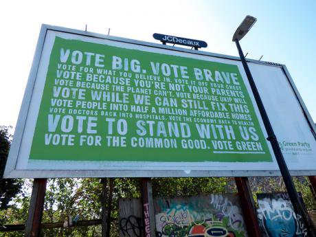 A Green Party billboard.