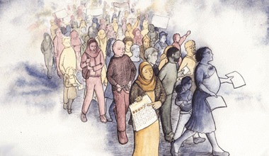 lead Illustration showing a crowd of men, women and children. Some have placards and pieces of paper.