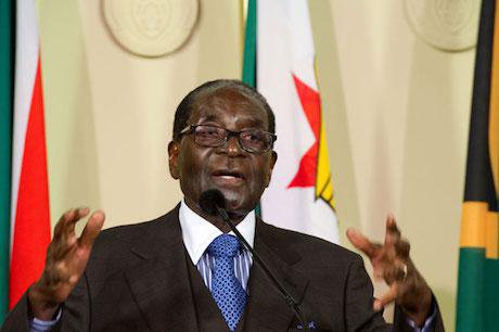Robert Mugabe addresses members of the media