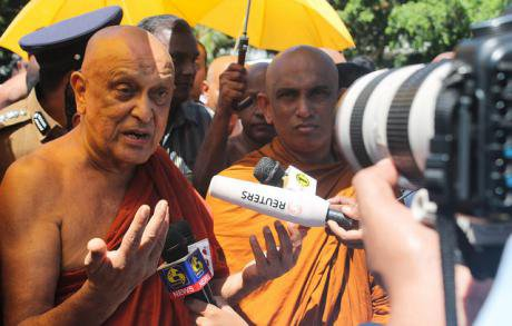 The late Maduluwawe Sobitha Thero campaigning for the 19th amendment outside the Sri Lankan parliament in 2015.