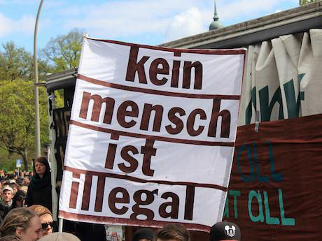 "May Day demonstration in Hamburg ""Never mind the papers"". Rasande Tyskar/Flickr. Some rights reserved."