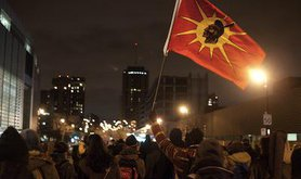 Night demonstration supports Idle No More in Montreal. Demotix/Oscar Aguirre. All rights reserved.