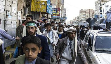 Shi'ite Houthis march in anticipation of Prophet's birthday. Demotix/Luke Somers.