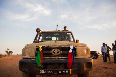 A Malian army pick-up in Niono. Demotix/ Marc-Andre Boisvert
