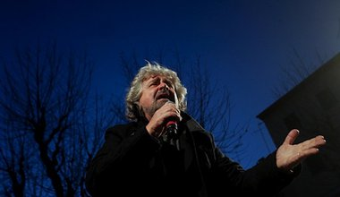 Comedian turned activist Beppe Grillo at a campaign rally in Livorno. Demotix/Giacomo Quilici. All rights reserved.