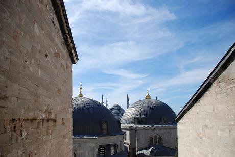 Blue Mosque through a window on the second floor of Hagia Sophia.