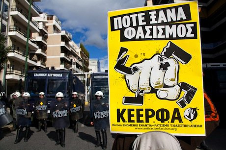 During an antifascist demonstration in Athens. Demotix/Kostas Pikoulas. All rights reserved.