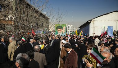 Iranians celebrate the 34th anniversary of the 1979 revolution. Demotix/Hanif Shoaei. All rights reserved.