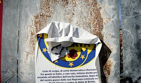 A destroyed campaign poster in Bologna. Demotix/Michele Lapini. All rights reserved.