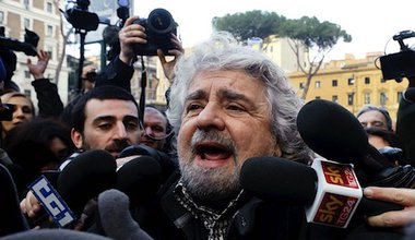 Beppe Grillo, leader of the Five Star Movement, seems to hold the political future of Italy in his hands. Demotix/Stefano Montesi. All rights reserved.