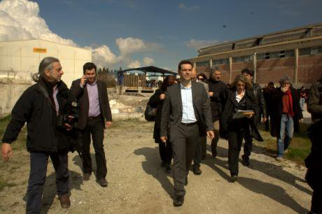 Tsipras in solidarity visit to Vio.Me, 2013.