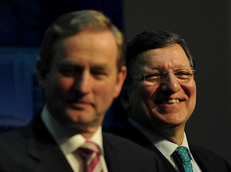 Irish Taoiseach Enda Kenny and President of the European Commission José Manuel Barroso at a press conference in Dublin. Demotix/Art Widak. All rights reserved.