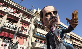 A float representing Silvio Berlusconi during the 5th parade of the Viareggio Carnival in Tuscany. Demotix/Federico Scoppa. All rights reserved.