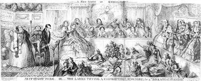 A cartoon of a courtroom scene in which all the positions of power are taken my ladies in full skirts and ribbons.