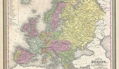 S. A. Mitchell Sr.'s 1850 map of Europe, depicting the entire continent colour coded according to individual countries.