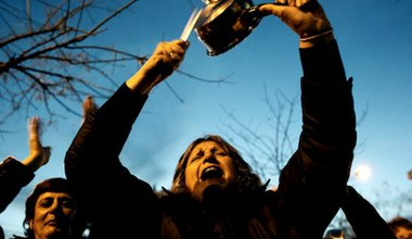 A saucepan banging anti-austerity protester in Thessaloniki, Greece. Demotix/ Konstantinos Tsakalidis. All rights reserved.