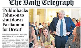 Telegraph front page, 13/8/2019 - 'Public backs Johnson to shut down parliament for Brexit'