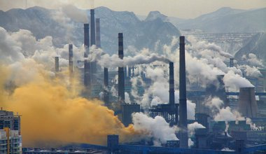 Smoke stacks from a steel plant in Benxi, China