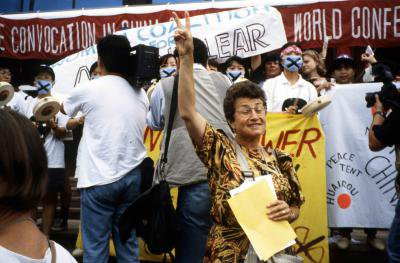 1995 Beijing NGO Forum Cora Weiss at peace demo.jpg