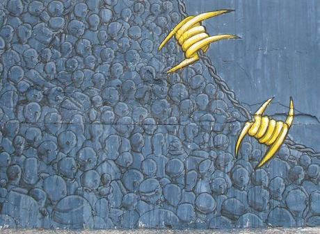 Graffiti by the artist BLU in Morocco, detail.